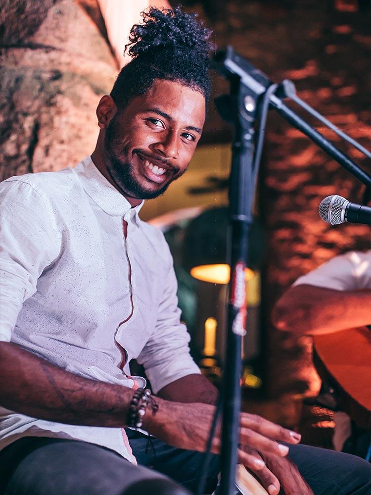 Bongo player at Amarla Boutique Hotel Cartagena Opening Party