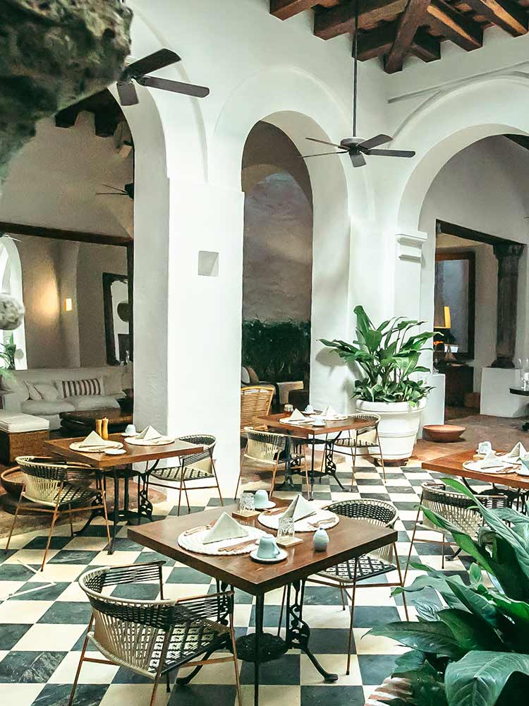 As one of the best hotels in Cartagena Colombia, Amarla Boutique hotel has a central courtyard for dining and doubles as a perfect reception area for hosting events