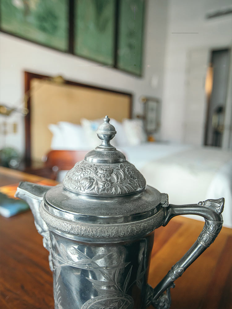 Pewter crafts work in the Macaw room of the Amarla Boutique Hotel
