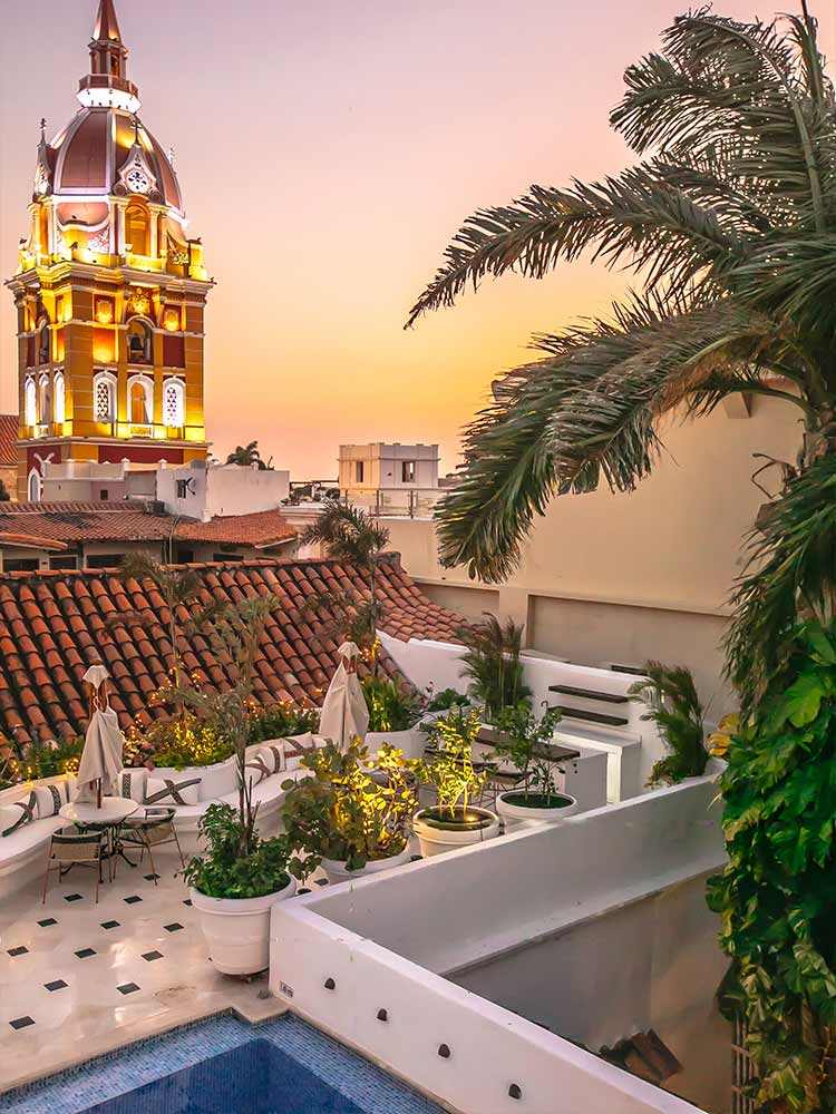 Swim in the pool or watch the sunset over the city from the rooftop of Amarla Boutique Hotel in Cartagena