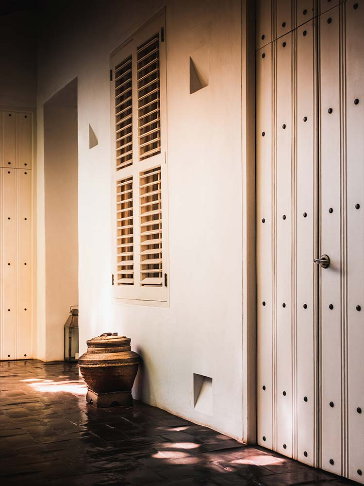 Corridor leading to guest rooms and suites at Amarla Cartagena Boutique hotel in Colombia