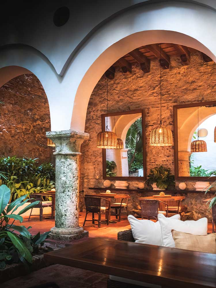 In-house dining at one of the best hotels in Cartagena colombia, Amarla Boutique Hotel