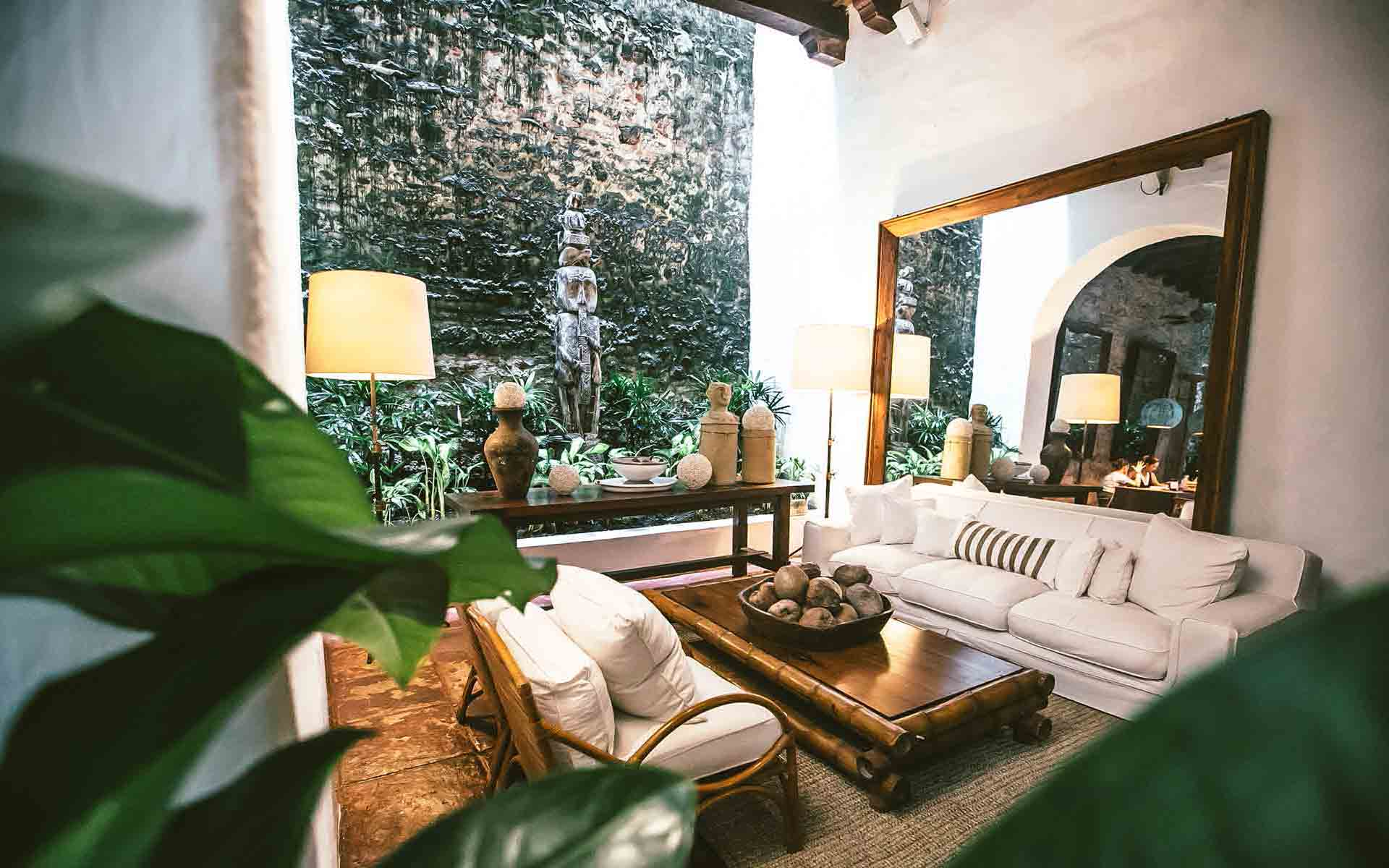 Reception and lounge area at Amarla boutique hotel in Cartagena
