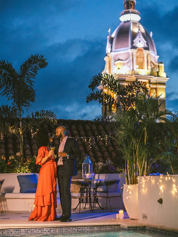 Romantic weddings and corporate events on the rooftop of Amarla Boutique Hotel in Cartagena