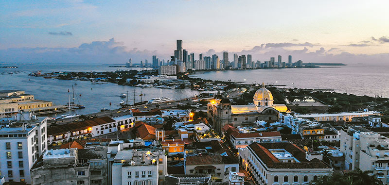 View of sunset from old town Cartagena looking at new city of Cartagena Colombia