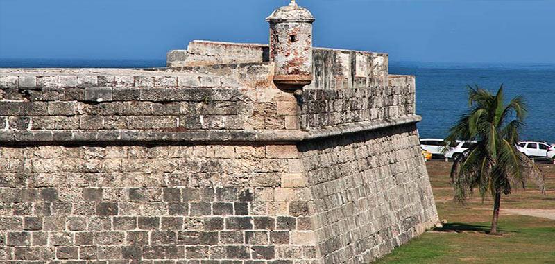 Las Murallas Fortress walls of Cartagena Walled City in Colombia